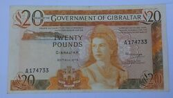 20/11/1975 Gibraltar 20 Pounds Banknote P-23a Key Date British Adminstration