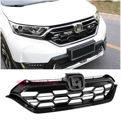 For 17-Up Honda CR-V CRV LX JDM Honeycomb Glossy Black Front Grille Guard Cover