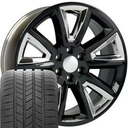Oew Fits 20x8.5 Black And Chrome Tahoe Wheels And Tires Rims Chevy