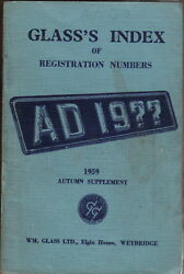 Glassand039s Index Of Registration Numbers Supplement Autumn 1959
