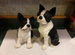 Vintage Large Pair of Sandicast Boston Terrier Dog & Pup - Animal Classics 1988
