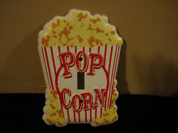 NEW METAL CINEMA POPCORN LIGHT SWITCH COVER PLATE movies box yellow red white