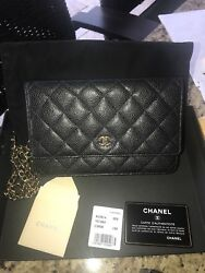 Authentic  CHANEL Black Caviar WOC wallet on chain Bag gold hardware RARE