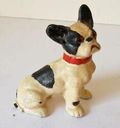 VINTAGE  SMALL BOSTON TERRIER PUPPY CAST IRON FIGURINE