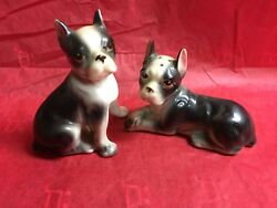 VTG BOSTON TERRIER DOG SALT & PEPPER SHAKERS RELCO JAPAN Figurine