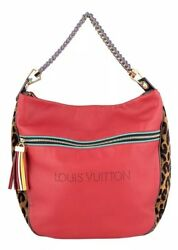 Authentic Louis Vuitton Red Leather and Leopard Jacquard Safari Flight Hobo Bag