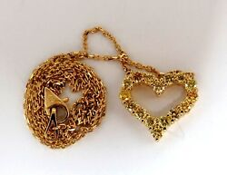 1.00ct Natural Fancy Yellow Diamonds Open Heart Necklace 14kt