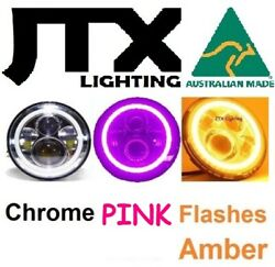 1pr 7 Chrome Headlights Pink Flashes Amber Fit Land Rover Defender 90 110 130