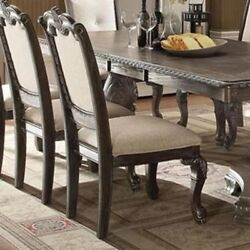 Classic Style 6pc Dining Side Chairs Padded Fabric Seat And Back Hand Carving