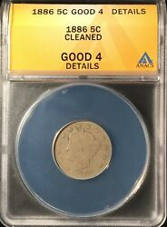 1886 Liberty Head Nickel ==anacs As G-4-details- Cleaned ==free Shipping