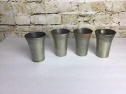4 Vintage Benedict Indestructo Sheffield Plate Nickel Silver 1386 Cups