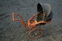 Antique Pram - Vintage Baby Doll Carriage / Stroller / Buggy - Clothe And Wicker