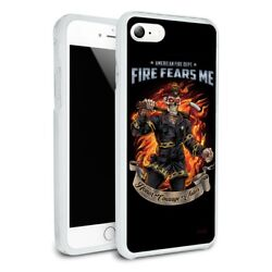American Fire Dept Firefighter Skeleton Hybrid Rubber Bumper Iphone 7 And 7 Plus