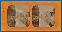 Tinted Tissue Stereoview Photo Recollets Bruges Brugge Belgium Foto Stereo 1865