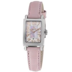 Gevril Women's 8048r Super Mini Pink Mop Dial Leather Date Watch