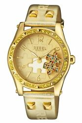 Rebel Women's Gravesend Watch Rb111-9101 Gold Puzzle Piece Dial Gold Leather