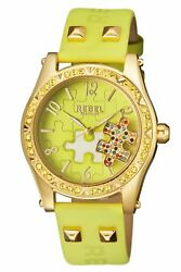 Rebel Women's Gravesend Watch Rb111-9171 Gold Ip Steel Lime-green Leather