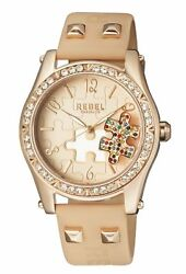 Rebel Women's Gravesend Watch Rb111-8151 Rose Gold Puzzle Piece Dial Tan Leather
