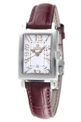 Gevril Women's Super Mini Watch 8045r Steel Brown Leather White Dial Date
