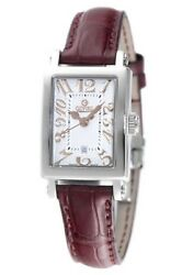Gevril Womenand039s Super Mini Watch 8045r Steel Brown Leather White Dial Date