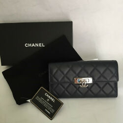 CHANEL A80768 Long Wallet Navy Silver Limited High Brand Elegant Ladies M03