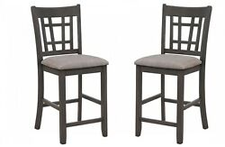 Gray 6-pc Counter Height Dining Side Chairs Armless Fabric Seat Slat Back Design