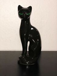 Vtg MCM Ceramic 11 Inch Black Cat Figurines Green Eyes Great Condition!