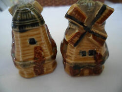 Vintage Antique Old Windmill Salt And Pepper Shakers Cruet Retro Set Early Japan