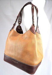 THE BRIDGE *recent season* two tone leather slouchy shoulder tote hobo hand bag