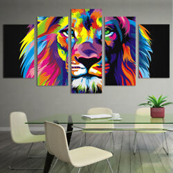 Abstract Colorful Lion Animal Painting 5 Panel Canvas Print Wall Art Home Decor