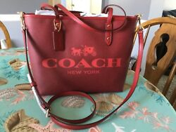 NWT! COACH SMALL METRO TOTE F36588 WITH CROSSBODY STRAP HORSE AND CARRIAGE - RED