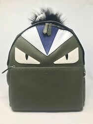 100% Authentic Brand New Fendi Monster Backpack with Fur Crest  Green Color