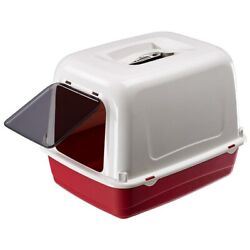 Heritage Red amp; White Sumo Cat Toilet Hooded Loo Litter Tray Cats Pan amp; Filter