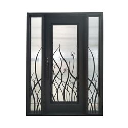 ALEKO Iron Square Top Tall Grass Door with Frame Threshold 72