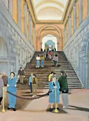 The Grand Staircase Of The Metropolitan Museum Original Oil Painting