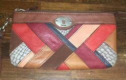 Fossil Maddox Multi Patchwork Large Wristlet Clutch Wallet Bag
