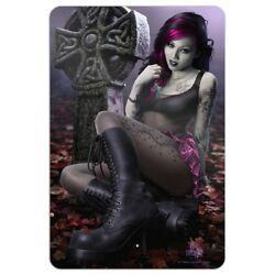 Goth Girl Dressed in Black Tattoos Home Business Office Sign