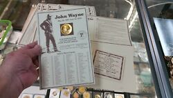 John Wayne The Duke U.s. Mint Commemorative 24 Karat Gold Plated Medal And Cert