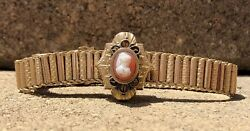 Antique Victorian Gold Filled Shell Cameo Tassel And Mesh Chain Slide Bracelet