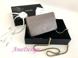 Authentic Chanel 2017 Grey Calfskin Wallet on Chain WOC Messenger Clutch Bag