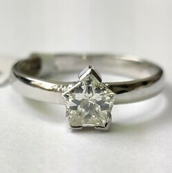 Clearance 0.75 Carat Star Cut Solitaire Fancy Engagement Ring, 18k White Gold