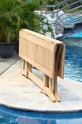 7-piece Outdoor Teak Dining Set 69 Console Table 6 Stacking Arm Chairs Lua