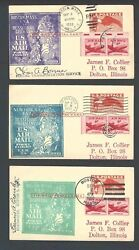 1950 Uxc1 X 3 On Fam-24 1st Flts To Dusseldorf Germany All Cacheted See Info