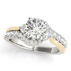 1.45 Ct Forever One Ghi Moissanite Round Dual Tone Micro Pave Engagement Ring