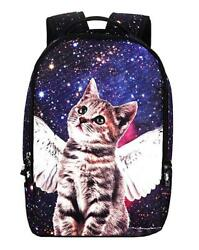 Galaxy Cat Printed School Backpack Lightweight Shoulder Bag for Teen Girls