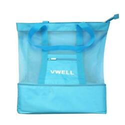 Mesh Beach Bag Insulated Picnic Cooler Tote For Women With Zipper Top By VWELL