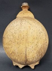 Early Antique Russian Balkan Wood Flask Canteen Vessel With Folk Art Drawings