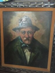 P Roncato Original Oil on Canvas Signed Old Man with Pipe framed 36