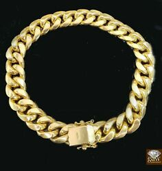 10k Yellow Gold Miami Cuban Bracelet 12mm 8 Box Lock Real 10kt Strong Link Br