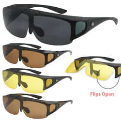 Barricade Large Oversize Mens Polarized Flip Up Fitover Wear Over Sunglasses XL $10.99